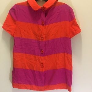 kate spade Tops - Kate Spade Striped Silk Blouse Back Buttons  00